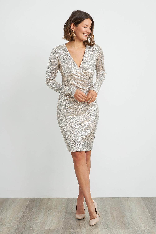 Joseph Ribkoff Silver/Nude Dresses Style 204314