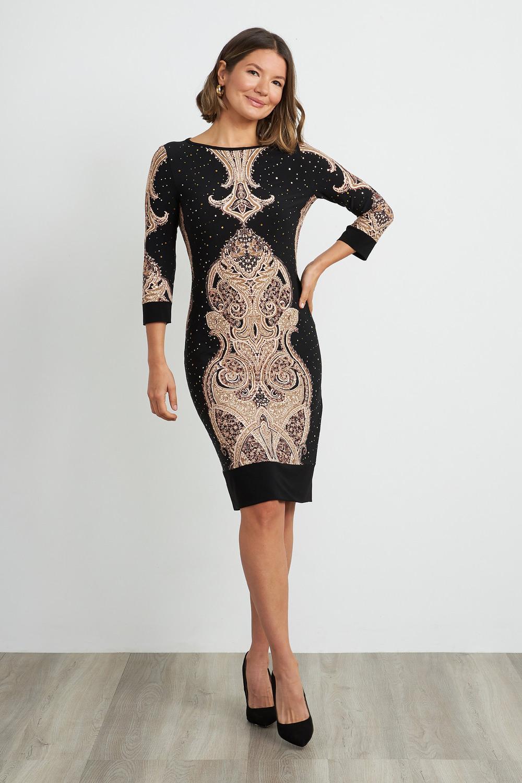 Joseph Ribkoff Robes Noir/Beige/Brun Style 204325