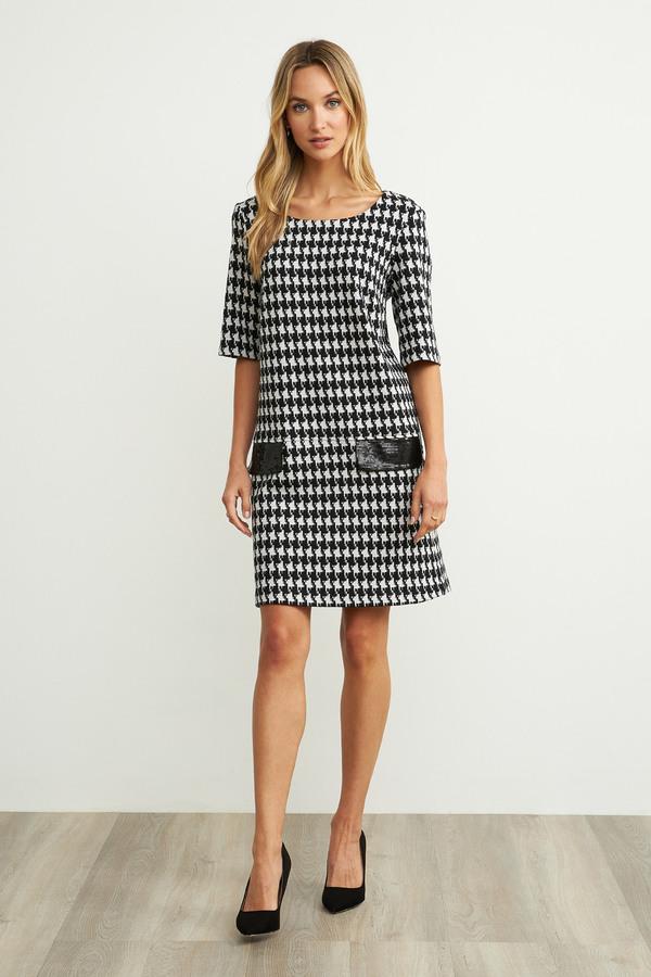 Joseph Ribkoff Printed Dress  Style 204400. Black/White/Silver