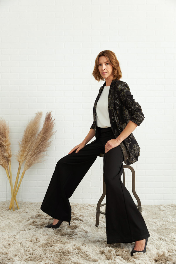 Joseph Ribkoff Printed Blazer Style 204418. Black/Gold