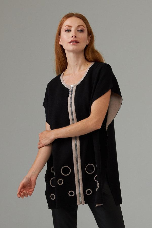 Joseph Ribkoff Sleeveless front zip tunic style 203035. Black/Taupe