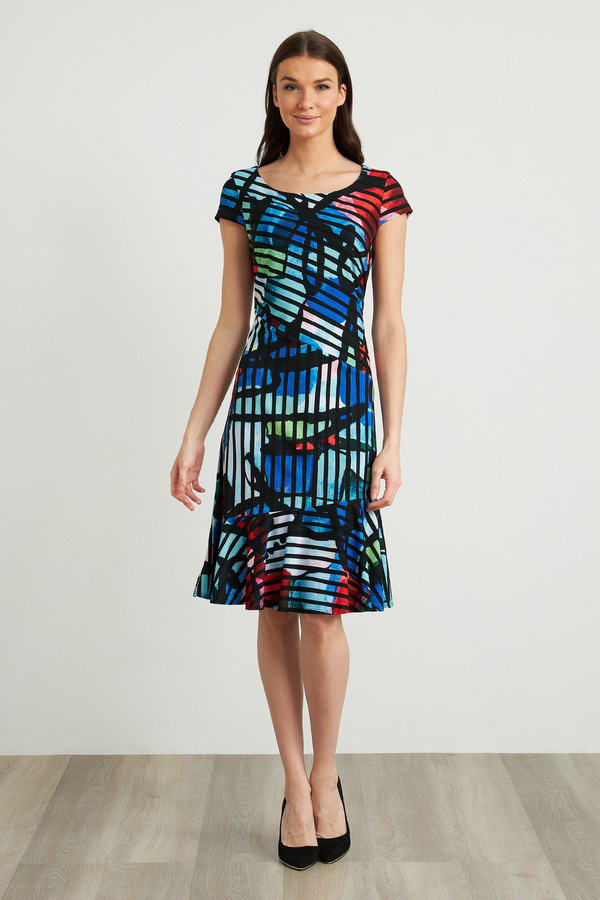 Joseph Ribkoff Robes Noir/Multi Style 211009