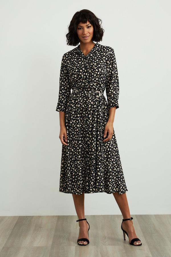 Joseph Ribkoff Dotted Dress Style 211031. Black/Ecru