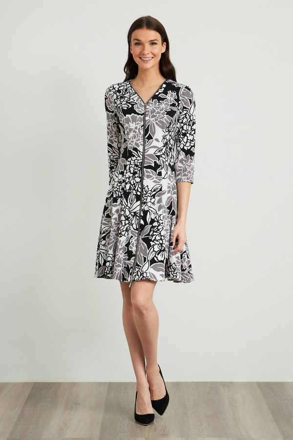 Joseph Ribkoff Robes Noir/Gris/Blanc Style 211041
