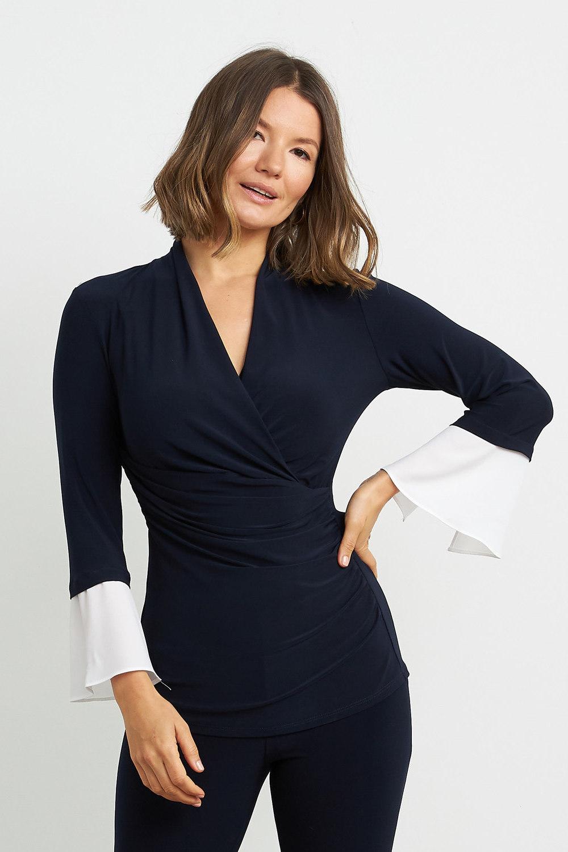 Joseph Ribkoff Midnight Blue/Off White Shirts & Blouses Style 211062
