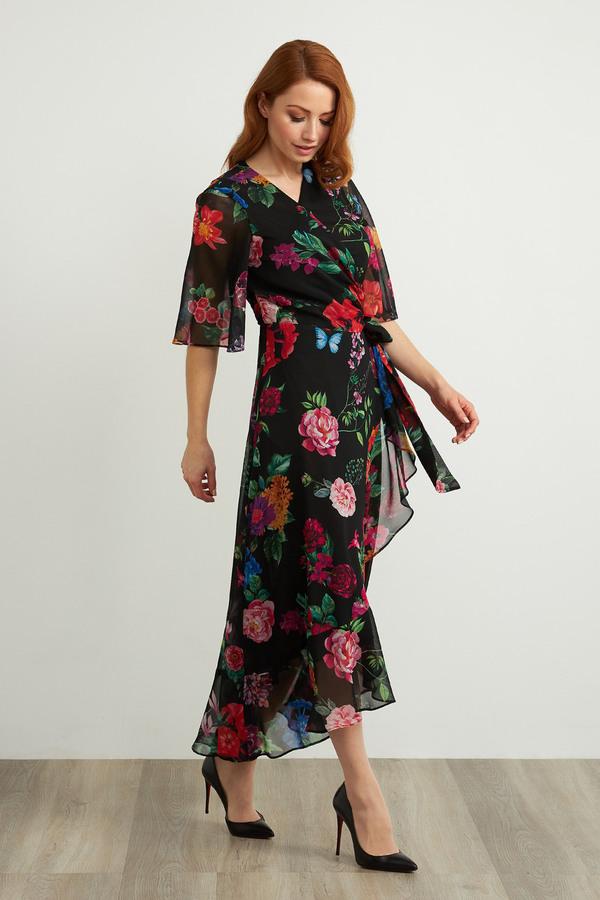 Joseph Ribkoff Floral Wrap Dress Style 211063. Black/Multi