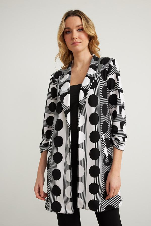 Joseph Ribkoff Dotted & Striped Jacket Style 211084. Vanilla/Black