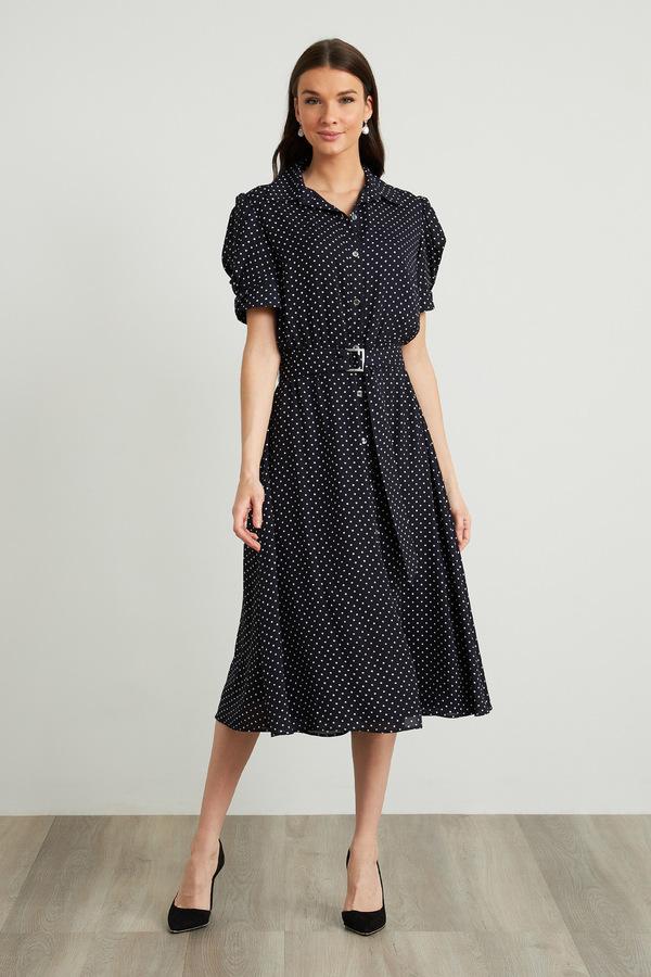 Joseph Ribkoff Polka Dot Dress Style 211102. Midnight Blue/Vanilla