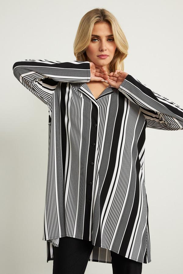 Joseph Ribkoff Striped Asymmetric Hem Blouse Style 211109. Black/White