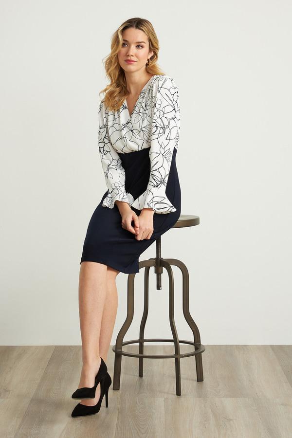 Joseph Ribkoff Printed Top Dress Style 211146. Vanilla/Midnight Blue