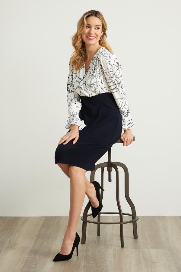 Joseph Ribkoff Robes Vanille/Bleu Minuit Style 211146