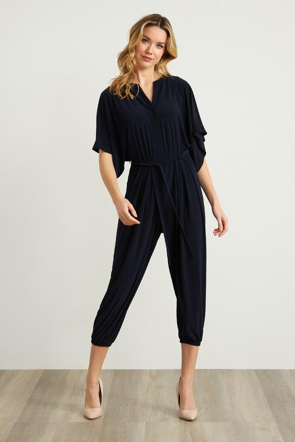 Joseph Ribkoff Cropped Jersey Jumpsuit Style 211153. Midnight Blue