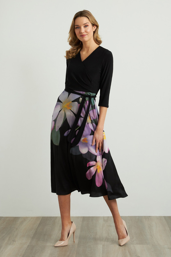 Joseph Ribkoff Long Sleeve Floral Dress Style 211177. BLACK/PURPLE/MULTI