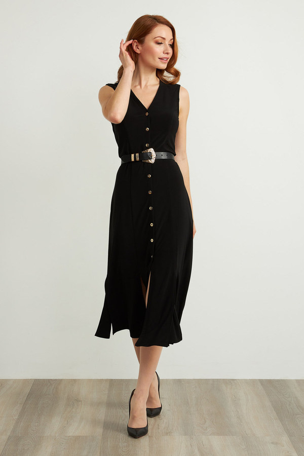 Joseph Ribkoff Sleeveless Belted Dress Style 211179. Black
