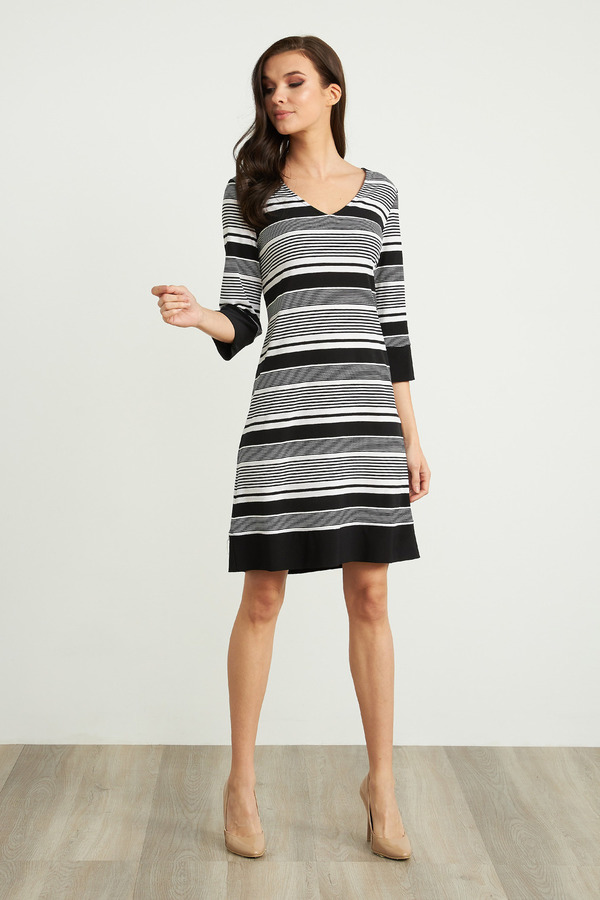 Joseph Ribkoff Striped 3/4 Sleeve Dress Style 211199. Black/White