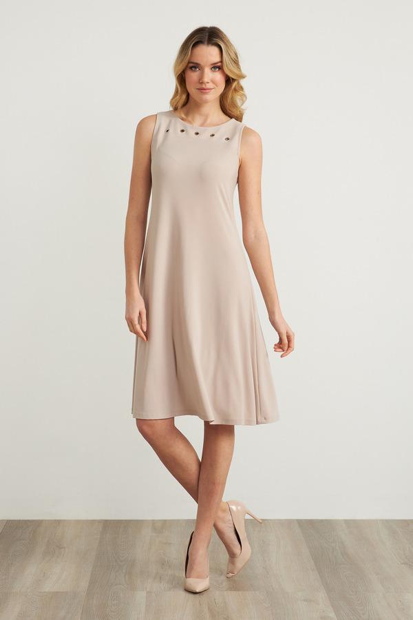Joseph Ribkoff Grommet Detail A-Line Dress Style 211244. Sand