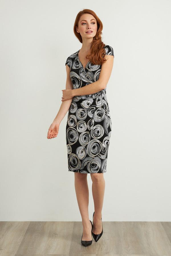 Joseph Ribkoff Circle Motif Dress Style 211245. Black/White/Gold