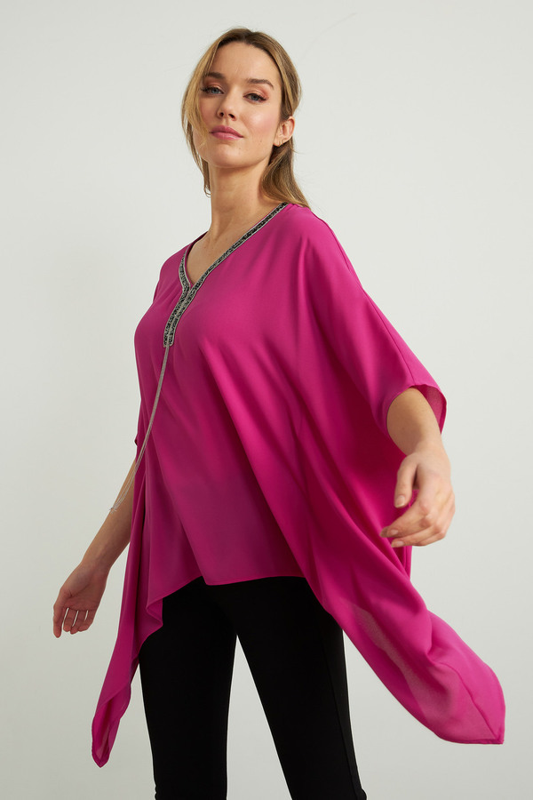 Joseph Ribkoff Handkerchief Hem Tunic Style 211265. Orchid