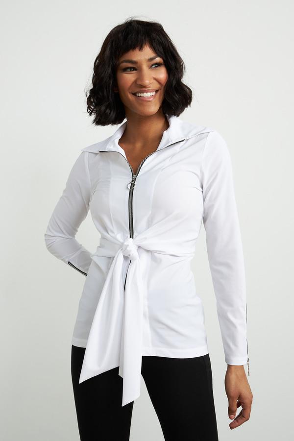 Joseph Ribkoff Belted Jacket Style 211280. Optic White