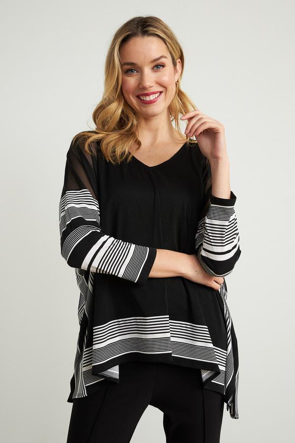 Joseph Ribkoff Striped Trim Tunic Style 211287. Black/White