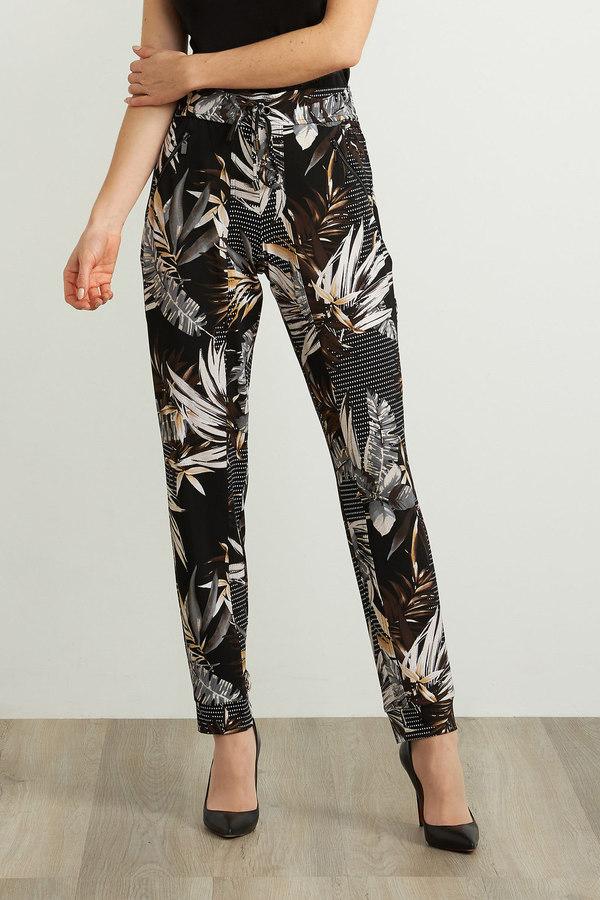 Joseph Ribkoff Tropical Print Pant Style 211318. Black/Multi