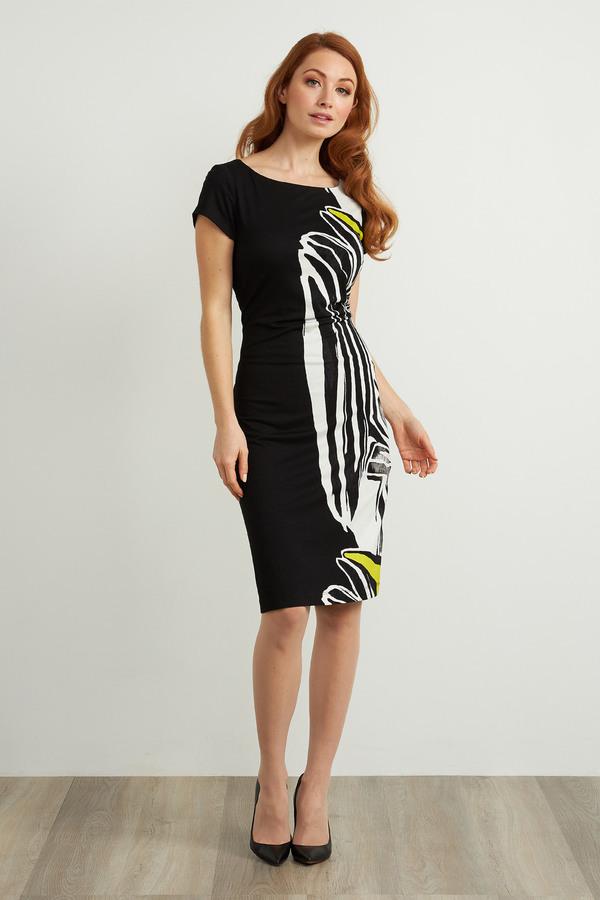 Joseph Ribkoff Animal Print Short Sleeve Dress Style 211344. Black/Multi