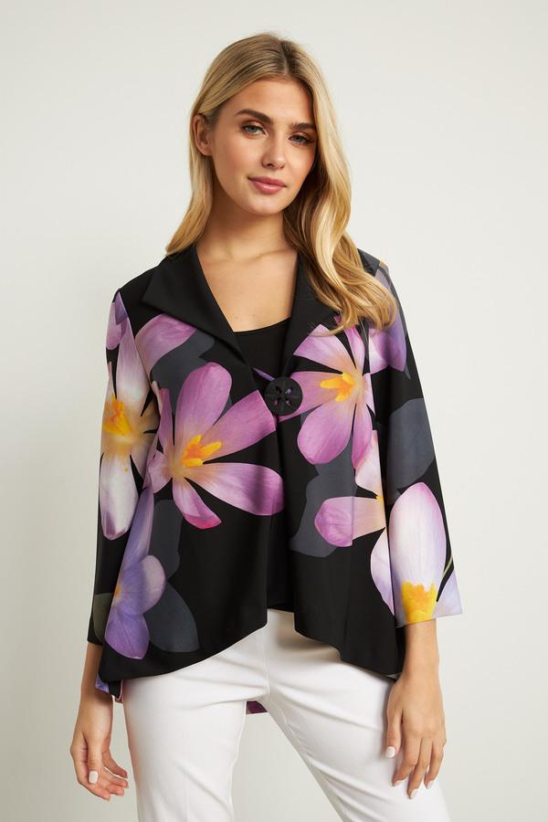 Joseph Ribkoff Floral 3/4 Sleeve Jacket Style 211395. BLACK/PURPLE/MULTI
