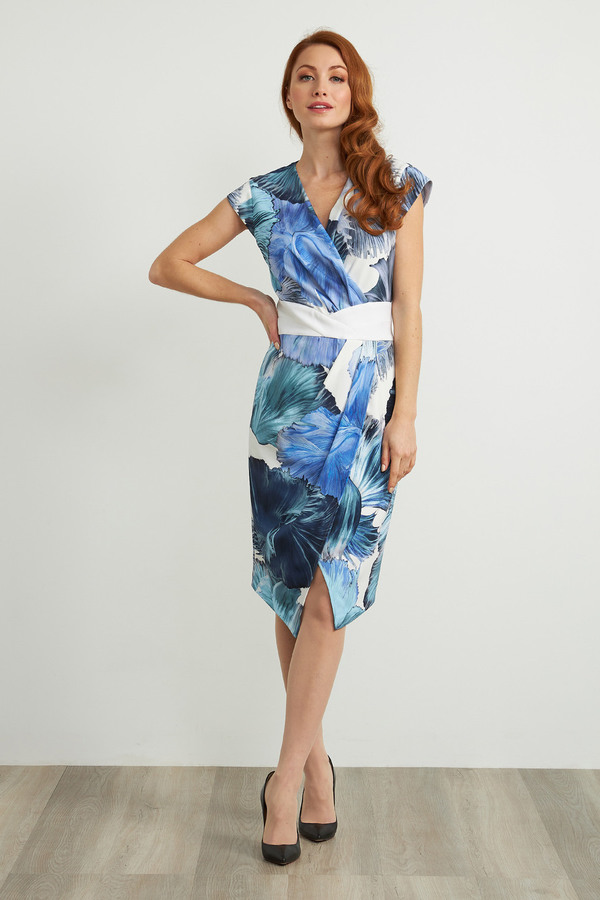 Joseph Ribkoff Floral Crossover Front Dress Style 211396. Blue/Multi