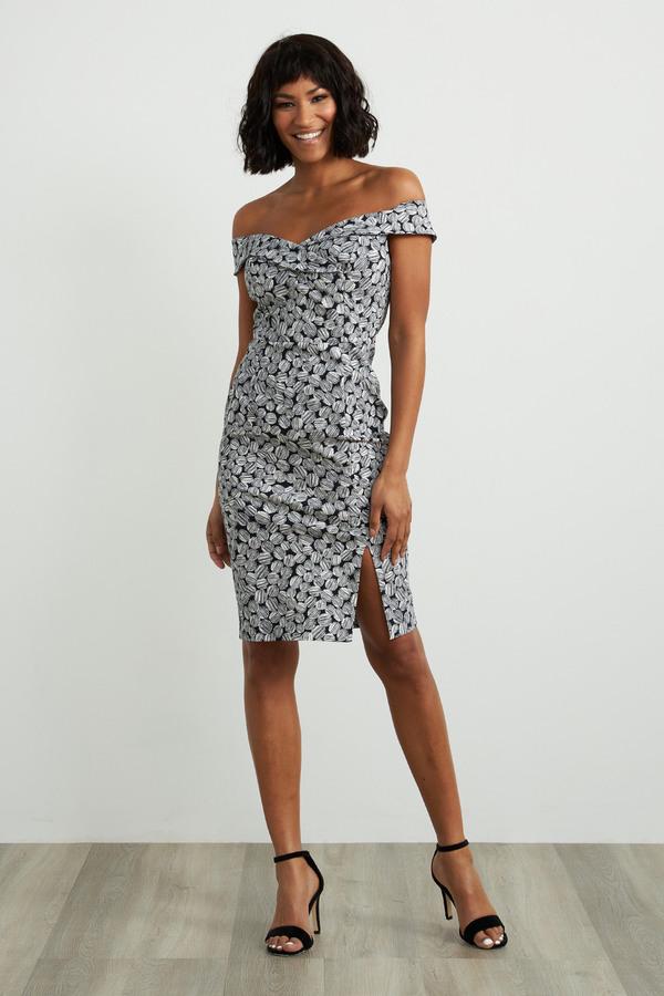 Joseph Ribkoff Off-Shoulder Midi Dress Style 211442. Navy/White