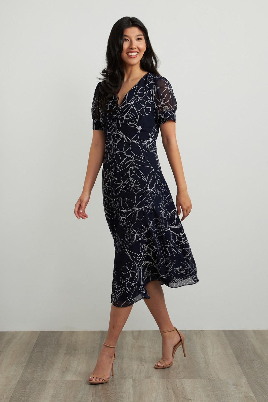 Joseph Ribkoff Robes Bleu Minuit/Vanille Style 211443