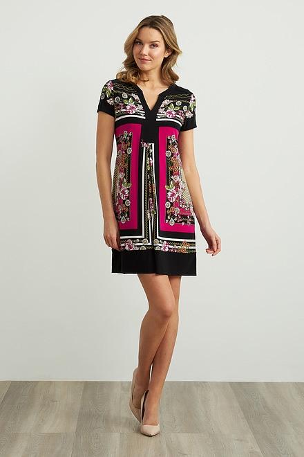 Joseph Ribkoff Floral & Chain Print Dress Style 211444