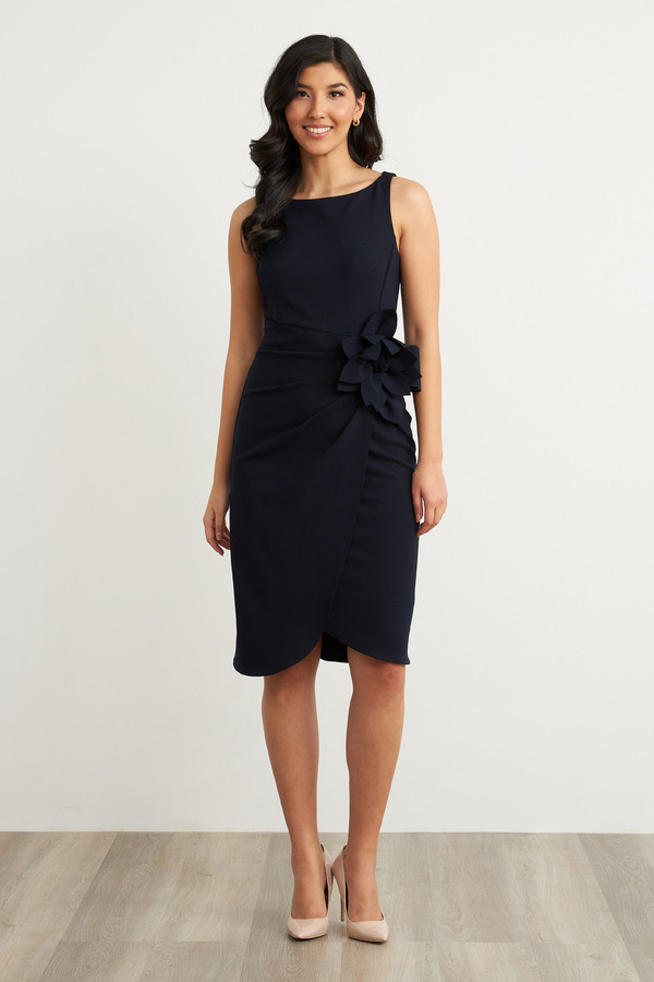 Joseph Ribkoff Flower Adornment Dress Style 211469. Midnight Blue