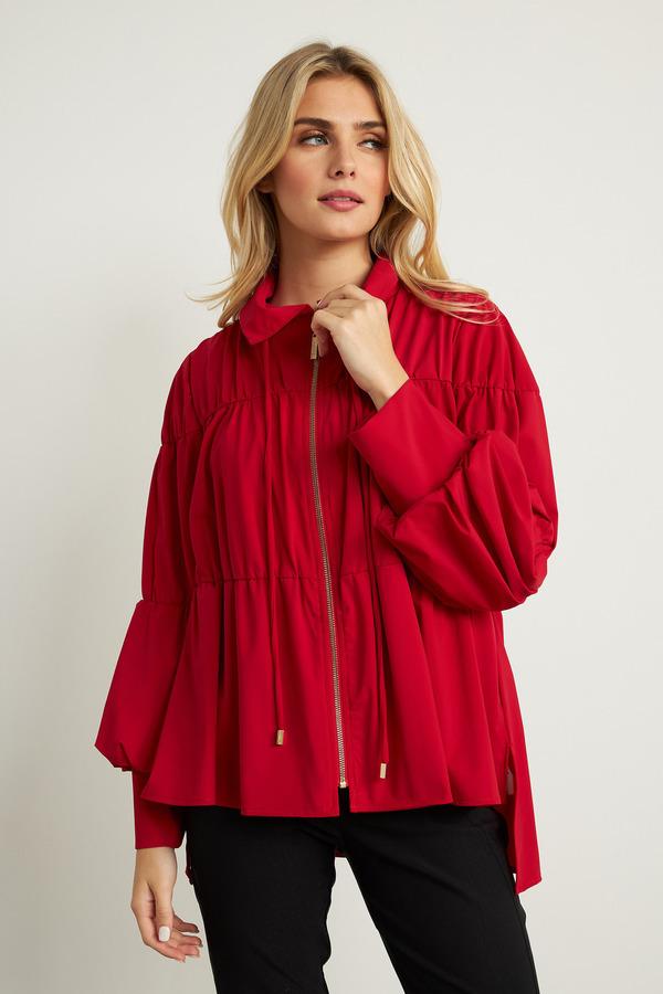 Joseph Ribkoff Puff Sleeve Jacket Style 211904. Lipstick Red 173