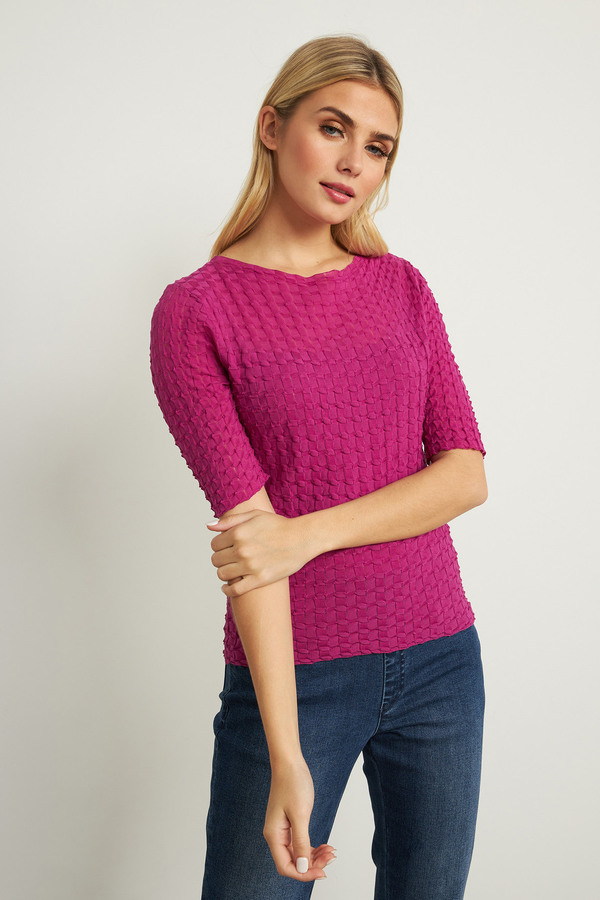 Joseph Ribkoff Textured Top Style 211928. Orchid