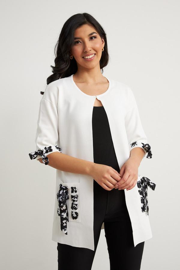 Joseph Ribkoff Printed Detail Long Jacket Style 211934. Vanilla 30