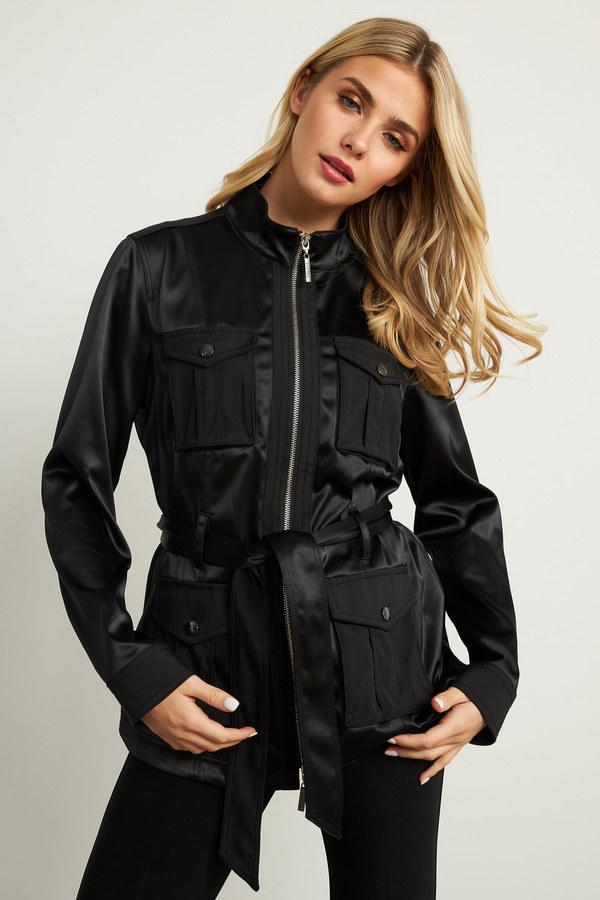 Joseph Ribkoff Belted Utility Jacket Style 211947. Black