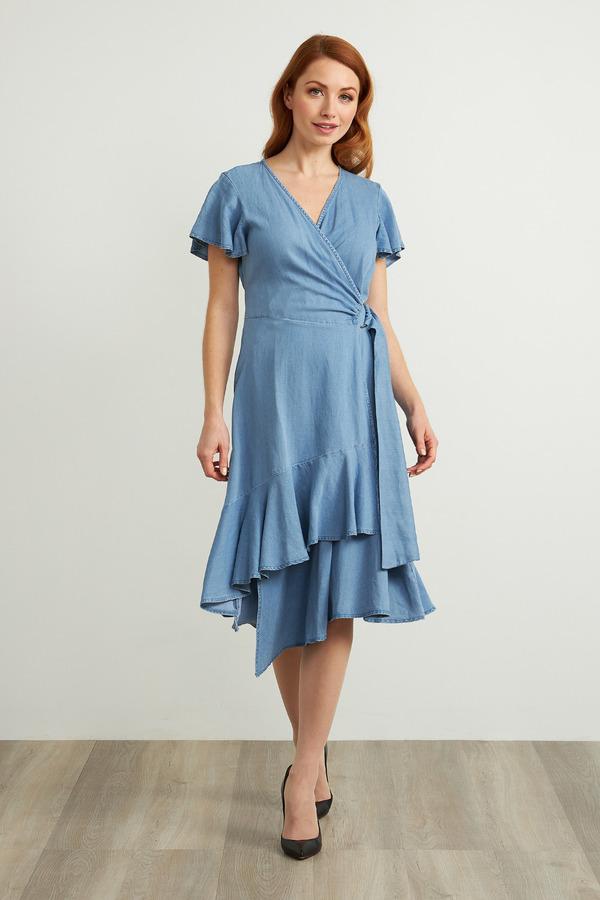 Joseph Ribkoff Chambray Belted Dress Style 211962. Light Blue