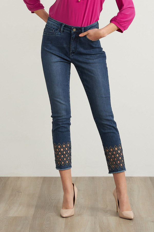 Joseph Ribkoff Diamond Cut-Out Jeans Style 211967
