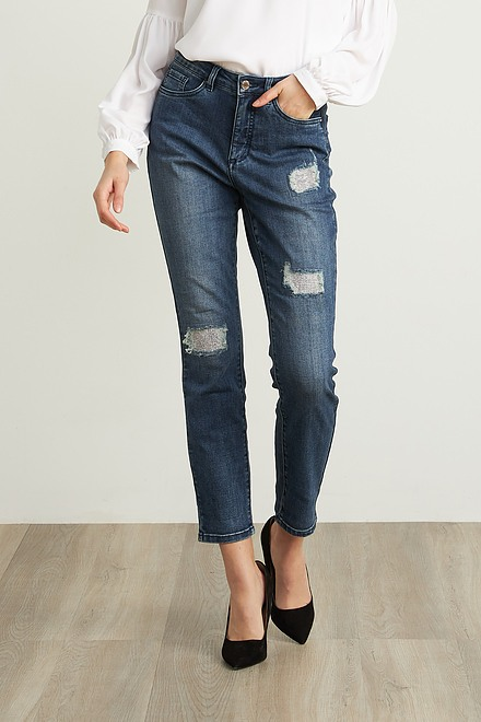 Joseph Ribkoff High-Rise Distressed Jeans Style 211975