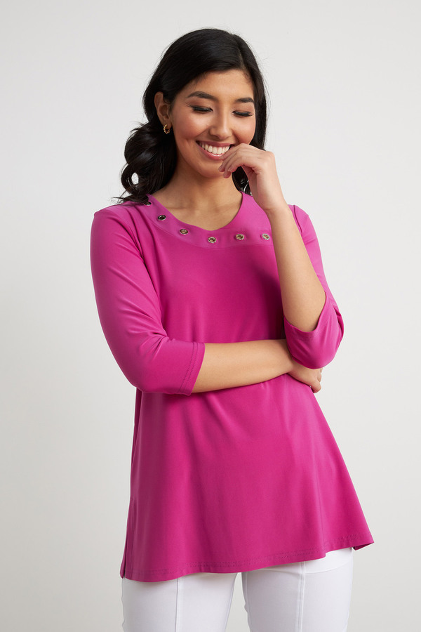 Joseph Ribkoff Grommet Detail Top Style 211255. Orchid