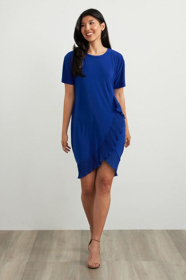 Joseph Ribkoff Frilled Dress Style 212026. Royal Sapphire 163
