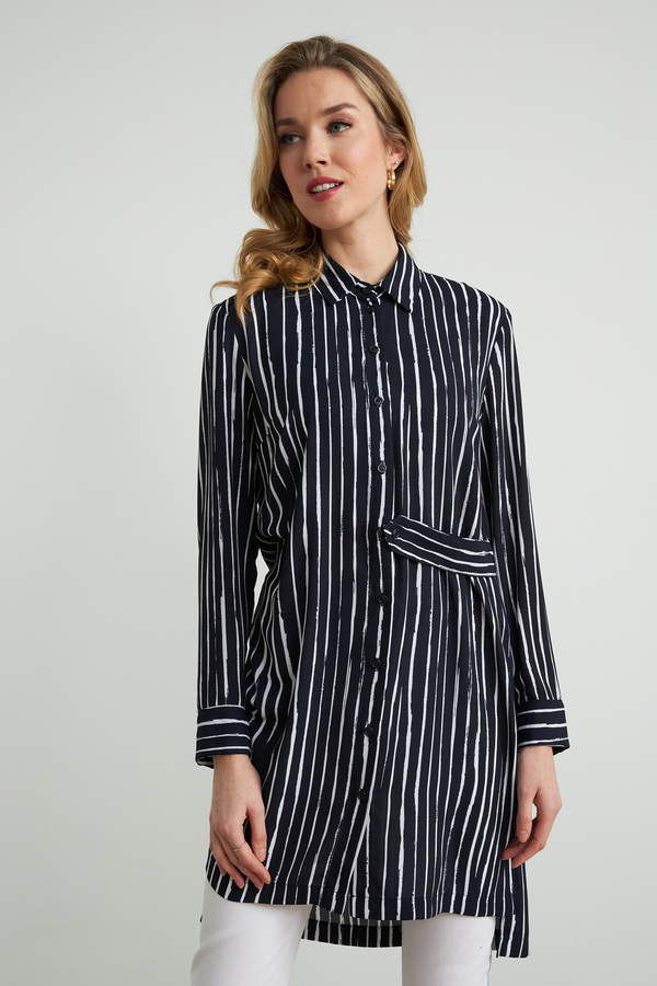 Joseph Ribkoff Striped Tunic Style 212082. Midnight Blue/White