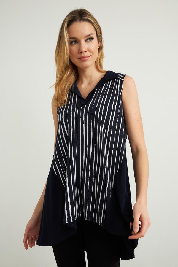 Joseph Ribkoff Striped Sleeveless Tunic Style 212088. Midnight Blue/White