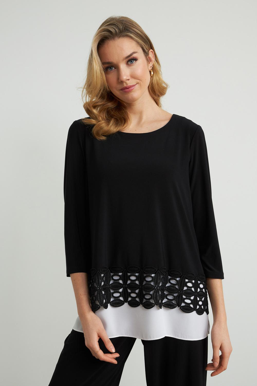 Joseph Ribkoff Black/Off White Shirts & Blouses Style 212110