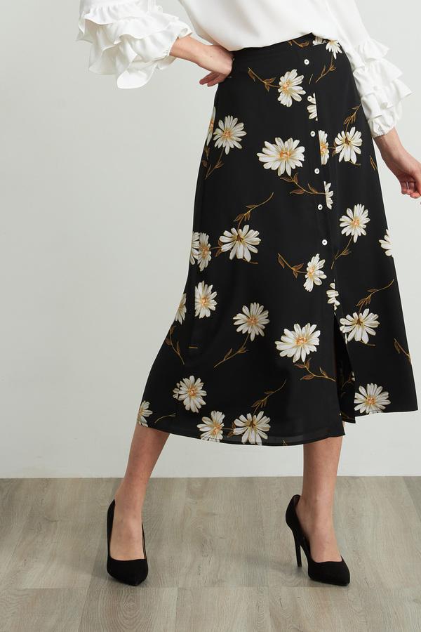 Joseph Ribkoff Daisy Print Skirt Style 212127. Black/Multi