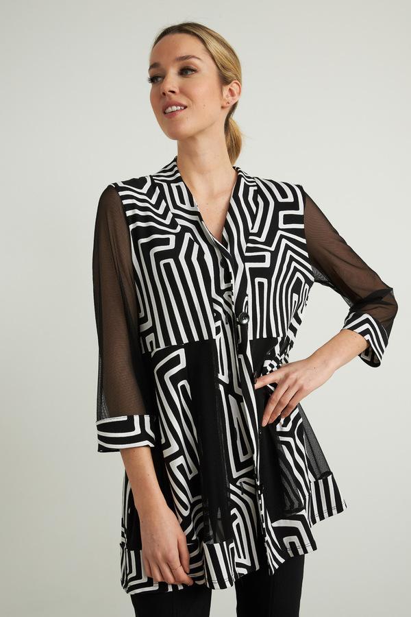 Joseph Ribkoff Mesh Panelled Jacket Style 212134. Black/Vanilla