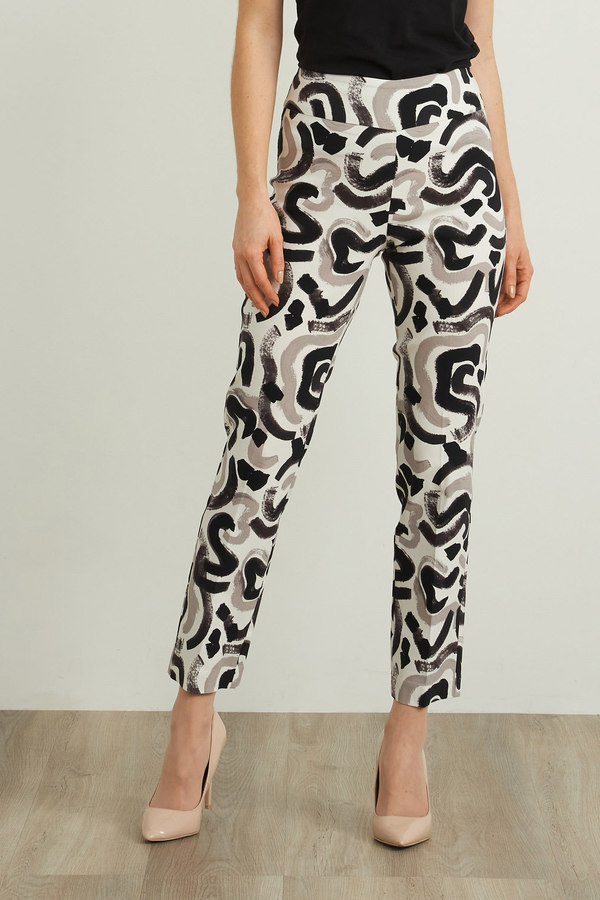 Joseph Ribkoff Abstract Cropped Pant Style 212140. White/grey/black