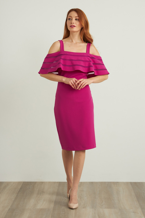 Joseph Ribkoff Off-Shoulder Dress Style 212147. Orchid