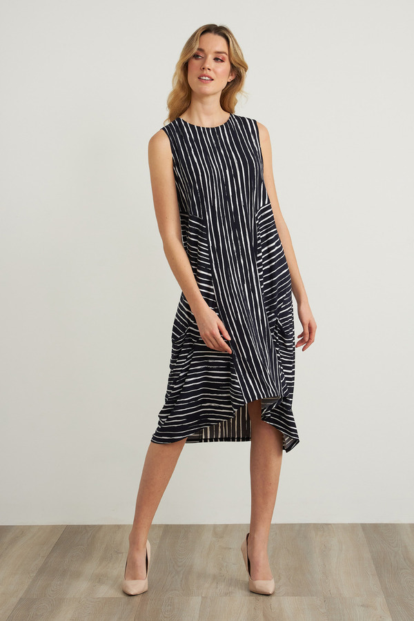 Joseph Ribkoff Striped Dress Style 212152. Midnight Blue/White
