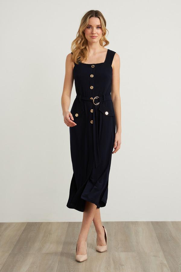 Joseph Ribkoff Metallic Accent Dress Style 212155. Midnight Blue